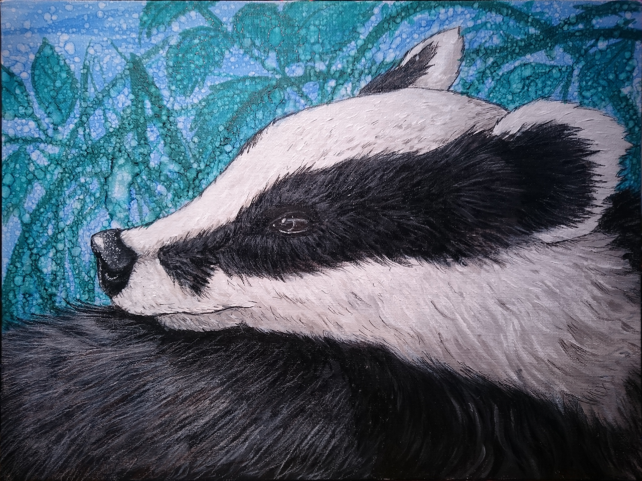 Badger portrait, in Acrylic paint, Indian ink and Prismacolour pencils on canvas.