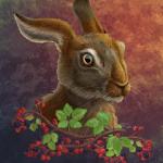Autumn hare, digital painting.